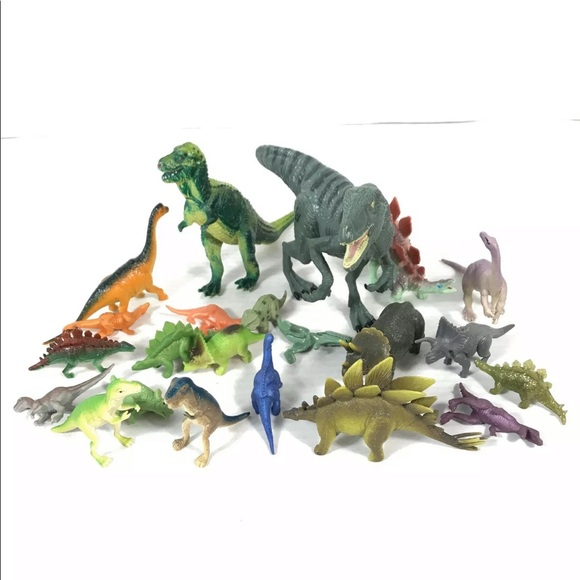Lot Of 22 Miniature Dinosaurs Toy Rubber Plastic